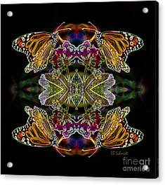 Acrylic Print featuring the digital art Butterfly Reflections 02 - Monarch by E B Schmidt
