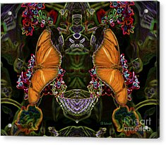 Acrylic Print featuring the digital art Butterfly Reflections 04 - Julia Heliconian by E B Schmidt