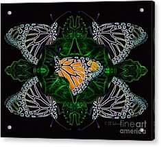 Acrylic Print featuring the digital art Butterfly Reflections 07 - Monarch by E B Schmidt