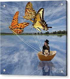 Butterfly Sailing Acrylic Print by Linda Lees