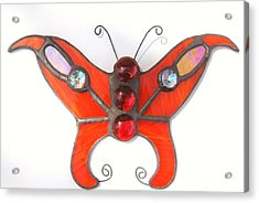 Butterfly Stained Glass Suncatcher In Orange With Red Accents Acrylic Print