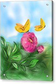 Acrylic Print featuring the digital art Butterfly Twins by Christine Fournier