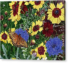 Butterfly Wildflowers Garden Oil Painting Floral Green Blue Orange-2 Acrylic Print by Walt Curlee