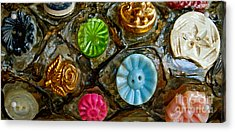 Button Biographies Acrylic Print by Gwyn Newcombe