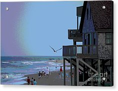 Buxton Beach And People Acrylic Print by Cathy Lindsey