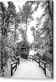 Bw Covered Bridge In The Snow Acrylic Print