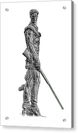 Bw Of Mountaineer Statue Acrylic Print