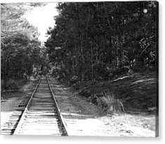 Bw Railroad Track To Somewhere Acrylic Print