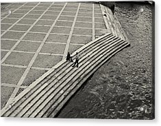 By The Banks Of Seine Black And White Acrylic Print by Aleksander Rotner