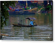 By The Flower Boat Acrylic Print by Rick Bragan