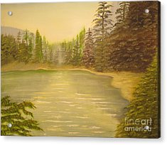 By The Lake - Original Oil Painting Acrylic Print by Anthony Morretta
