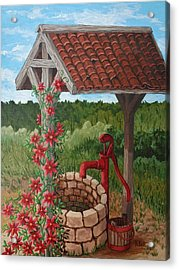 Acrylic Print featuring the painting By The Water Pump by Katherine Young-Beck
