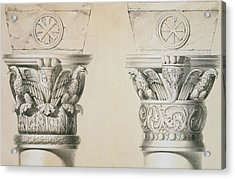 Byzantine Capitals From Columns In The Nave Of The Church Of St Demetrius In Thessalonica Acrylic Print by Charles Felix Marie Texier
