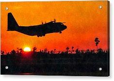 C-130 Sunset Acrylic Print by Paul Fearn