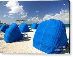 Cabanas On The Beach Acrylic Print by Amy Cicconi