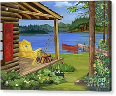Cabin By The Lake Acrylic Print