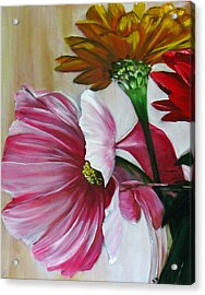 Cabin Flowers Acrylic Print by Sherry Robinson