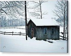 Cabin In Snow Acrylic Print by Nickaleen Neff