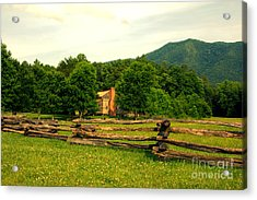 Cabin In The Meadow Cades Cove Acrylic Print