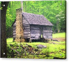 Cabin In The Smokies Acrylic Print by Marty Koch