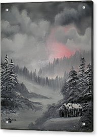 Cabin In The Winter Forset Acrylic Print by James Waligora