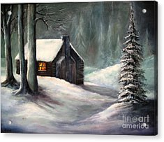 Acrylic Print featuring the painting Cabin In The Woods by Hazel Holland