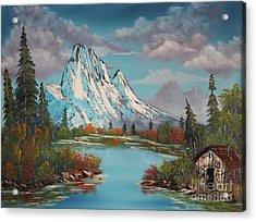 Cabin On The Lake Acrylic Print by Bob Williams