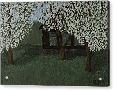 Acrylic Print featuring the painting Cabin With Blossoms Woods Spring by Kurt Olson