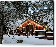 Cabin With Christmas Lights Acrylic Print