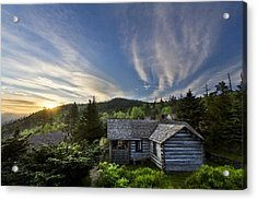 Cabins At Dawn Acrylic Print by Debra and Dave Vanderlaan
