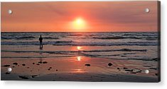 Cable Beach At Sunset With Figure Acrylic Print