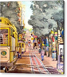 Cable Cars On Powell Street Acrylic Print
