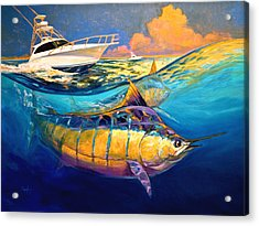 Cabo Forty Four Contemporary Marlin And Cabo Yacht Art Acrylic Print by Savlen Art