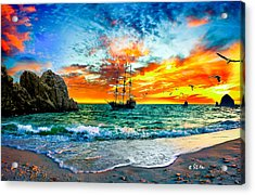 Cabo San Lucas-fantasy Pirate Ship-sailing Sunset Acrylic Print by Eszra Tanner