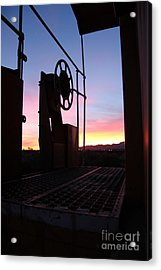Caboose Waiting Til Dawn Acrylic Print by Diane Greco-Lesser