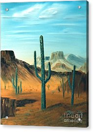 Cactus And Mesa Acrylic Print by Stephen Schaps