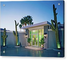 Cactus At Building Entrance At Dusk Acrylic Print