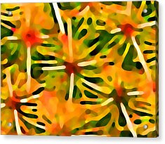 Cactus Pattern 3 Yellow Acrylic Print by Amy Vangsgard
