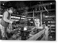 Cades Cove Blacksmith Shop In Black And White Acrylic Print