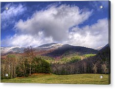 Cades Cove First Dusting Of Snow Acrylic Print by Debra and Dave Vanderlaan