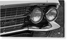 Acrylic Print featuring the photograph Cadillac Grill And Lights B/w by Mick Flynn