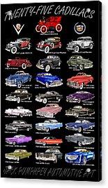 25 Cadillacs In A Poster  Acrylic Print