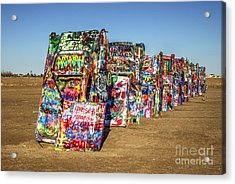 Cadillac Ranch Acrylic Print by Rob Hawkins