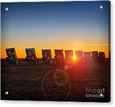 Cadillac Ranch Sunset Acrylic Print