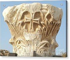 Caesarea Israel Ancient Roman Marble Carving  Acrylic Print by Robert Birkenes