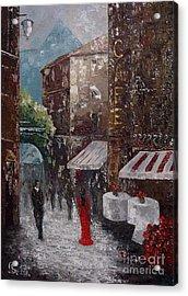 Cafe Acrylic Print by AmaS Art