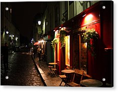 Cafe At Night Acrylic Print by Carrie Warlaumont