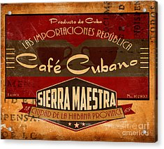 Cafe Cubano Crate Label Acrylic Print by Cinema Photography