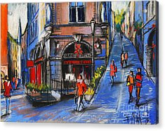 Cafe Du Soleil - Place De La Trinite - Lyon France Acrylic Print by Mona Edulesco
