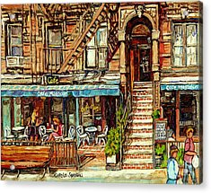 Cafe Mogador Moroccan Mediterranean Cuisine New York Paintings East Village Storefronts Street Scene Acrylic Print